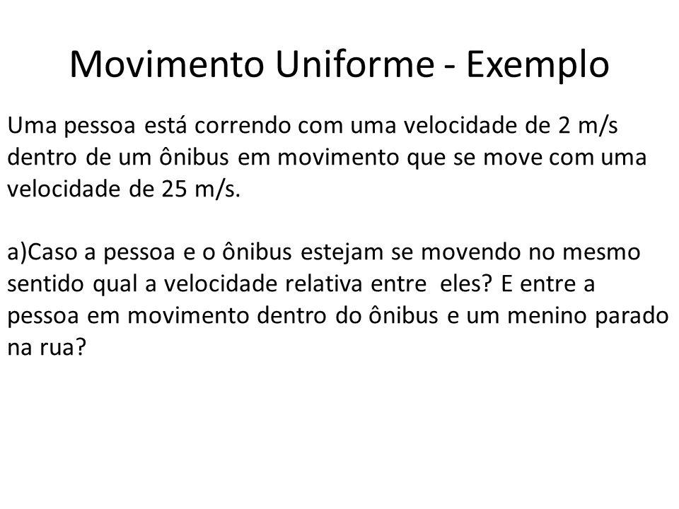 Movimento Uniforme - Exemplo Uma pessoa está correndo com uma velocidade de 2 m/s dentro de um ônibus em movimento que se move com uma velocidade de 2