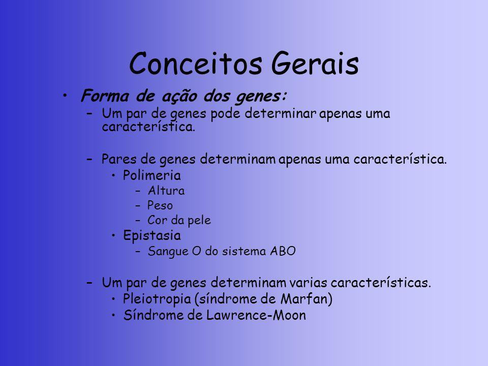 Conceitos Gerais Forma de ação dos genes: –Um par de genes pode determinar apenas uma característica. –Pares de genes determinam apenas uma caracterís