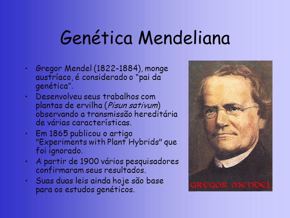Genética Mendeliana Gregor Mendel (1822-1884), monge austríaco, é considerado o pai da genética. Desenvolveu seus trabalhos com plantas de ervilha (Pi