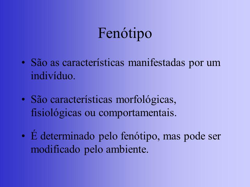 Fenótipo F = G + A (Fenótipo é igual ao genótipo do indivíduo mais a ação do ambiente).