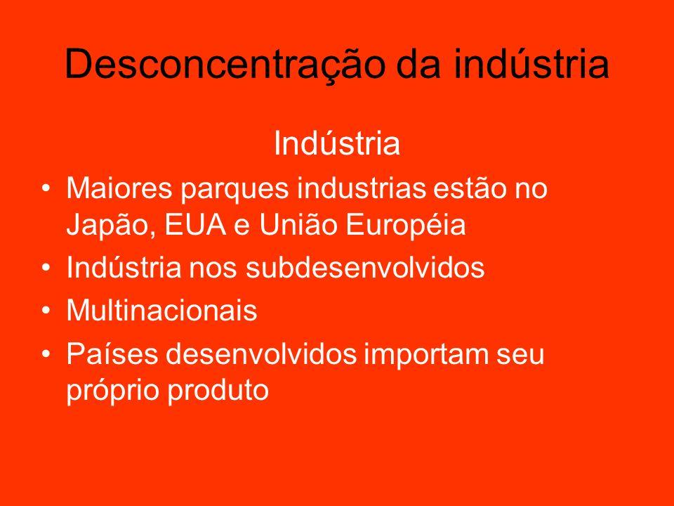 Indústria Maiores parques industrias estão no Japão, EUA e União Européia Indústria nos subdesenvolvidos Multinacionais Países desenvolvidos importam