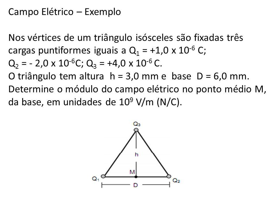 Campo Elétrico – Exemplo Nos vértices de um triângulo isósceles são fixadas três cargas puntiformes iguais a Q 1 = +1,0 x 10 -6 C; Q 2 = - 2,0 x 10 -6