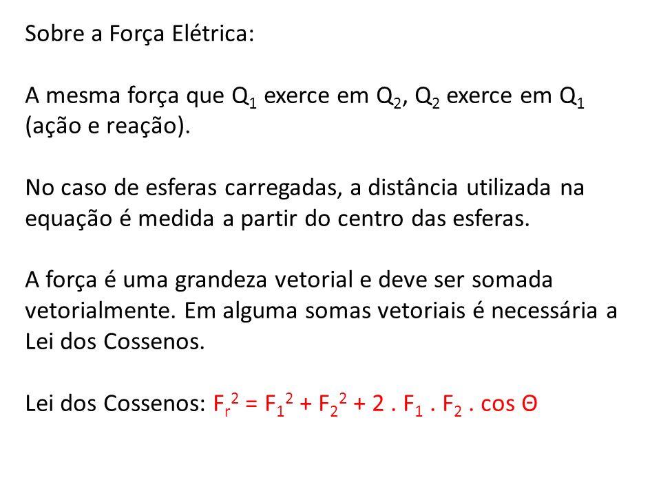 Sobre a Força Elétrica: A mesma força que Q 1 exerce em Q 2, Q 2 exerce em Q 1 (ação e reação). No caso de esferas carregadas, a distância utilizada n