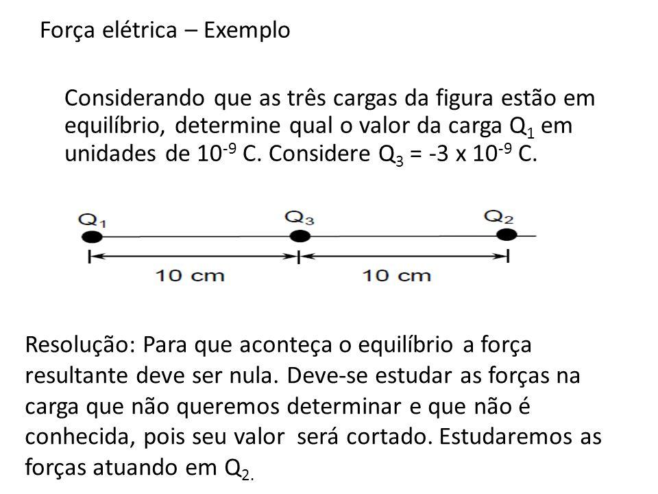 Q 2 sofre duas forças, F 12 e F 32, feitas pelas cargas Q 1 e Q 3 Para que Q 2 fique em equilíbrio essas forças devem se anular, o que significa que seus módulos são iguais.