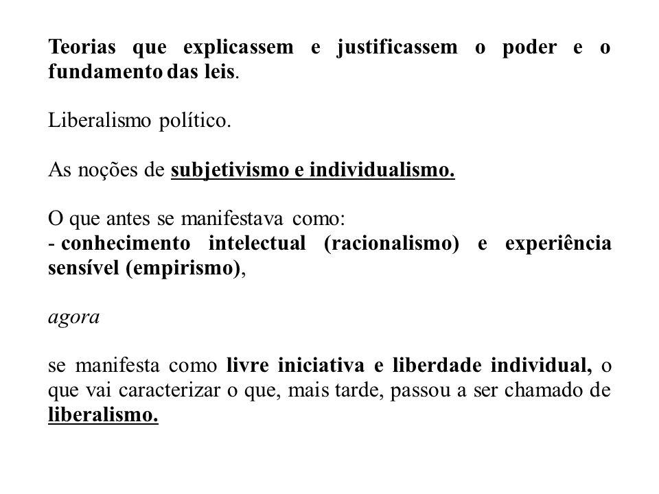 Teorias que explicassem e justificassem o poder e o fundamento das leis. Liberalismo político. As noções de subjetivismo e individualismo. O que antes