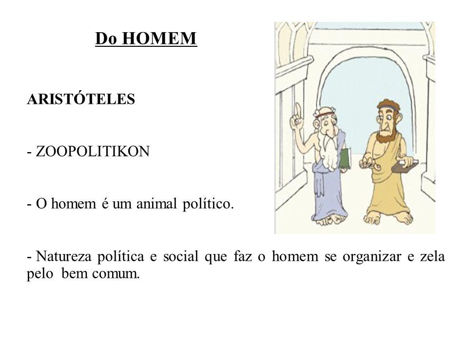 Do HOMEM ARISTÓTELES - ZOOPOLITIKON - O homem é um animal político. - Natureza política e social que faz o homem se organizar e zela pelo bem comum.