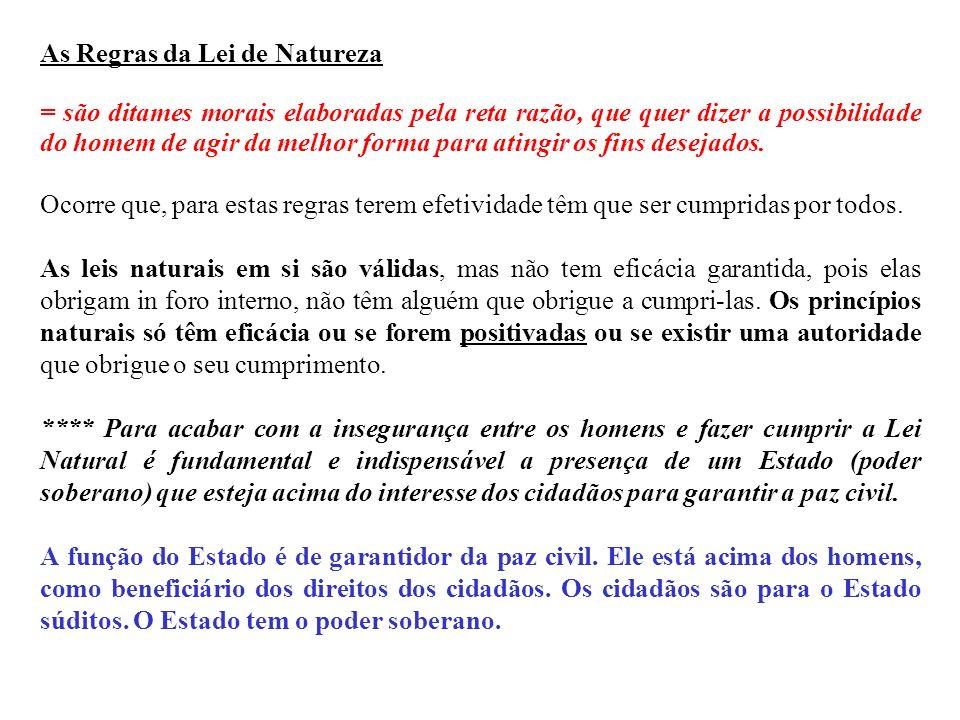 As Regras da Lei de Natureza = são ditames morais elaboradas pela reta razão, que quer dizer a possibilidade do homem de agir da melhor forma para ati