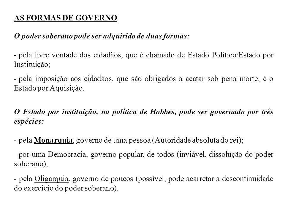 AS FORMAS DE GOVERNO O poder soberano pode ser adquirido de duas formas: - pela livre vontade dos cidadãos, que é chamado de Estado Político/Estado po