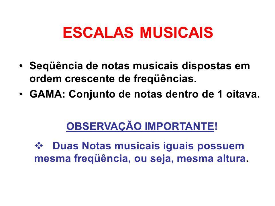 ESCALAS MUSICAIS Seqüência de notas musicais dispostas em ordem crescente de freqüências. GAMA: Conjunto de notas dentro de 1 oitava. OBSERVAÇÃO IMPOR
