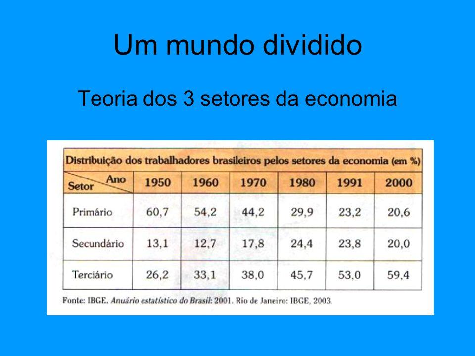 Um mundo dividido Setor Primário Pouco capital Baixa tecnologia Baixo valor agregado Regulado por bolsa de valores Preços sujeitos a variação
