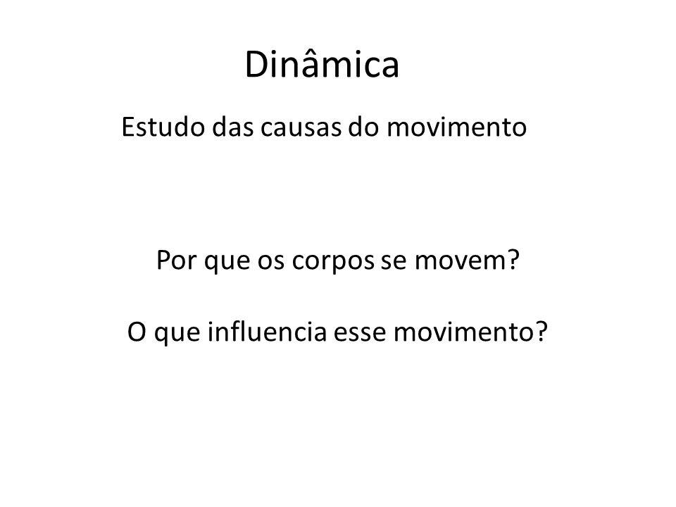 Dinâmica Estudo das causas do movimento Por que os corpos se movem.