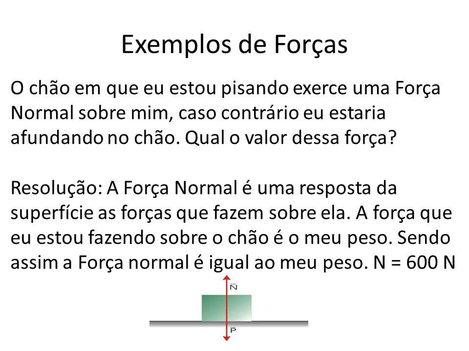Exemplos de Forças O chão em que eu estou pisando exerce uma Força Normal sobre mim, caso contrário eu estaria afundando no chão.