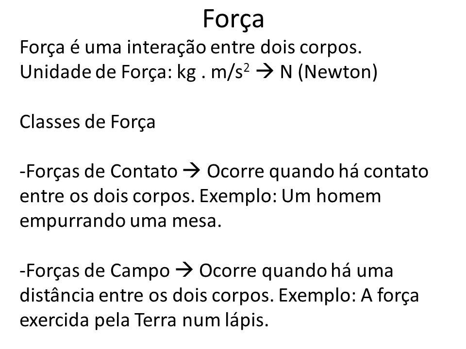 Força Força é uma interação entre dois corpos.Unidade de Força: kg.