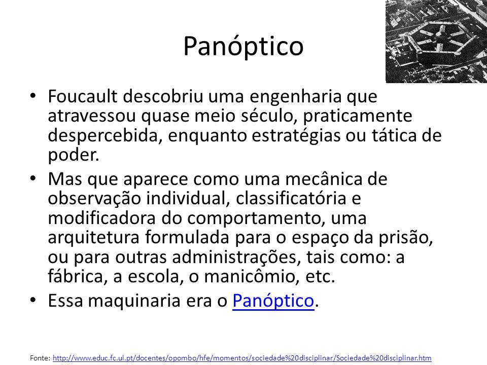 Panóptico Foucault descobriu uma engenharia que atravessou quase meio século, praticamente despercebida, enquanto estratégias ou tática de poder. Mas