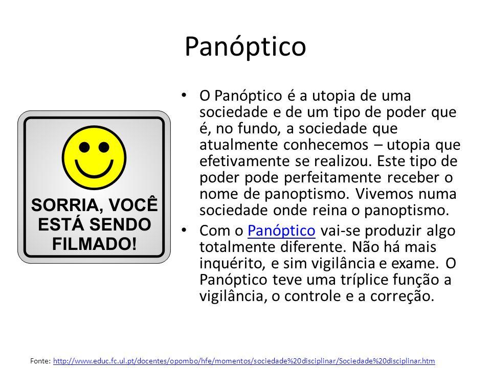 O Panóptico é a utopia de uma sociedade e de um tipo de poder que é, no fundo, a sociedade que atualmente conhecemos – utopia que efetivamente se real
