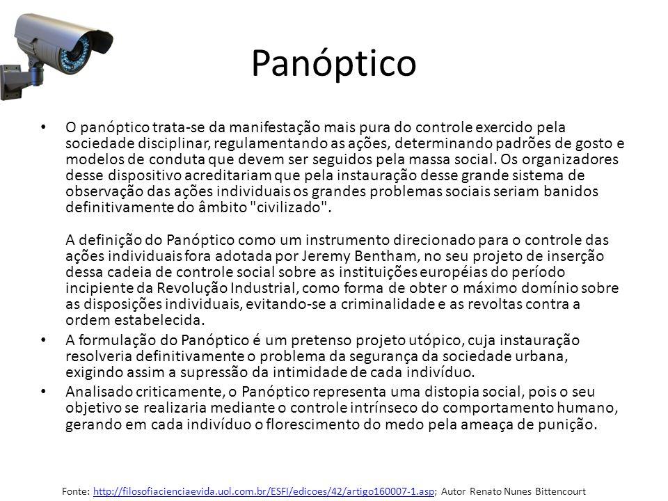 Panóptico O panóptico trata-se da manifestação mais pura do controle exercido pela sociedade disciplinar, regulamentando as ações, determinando padrõe