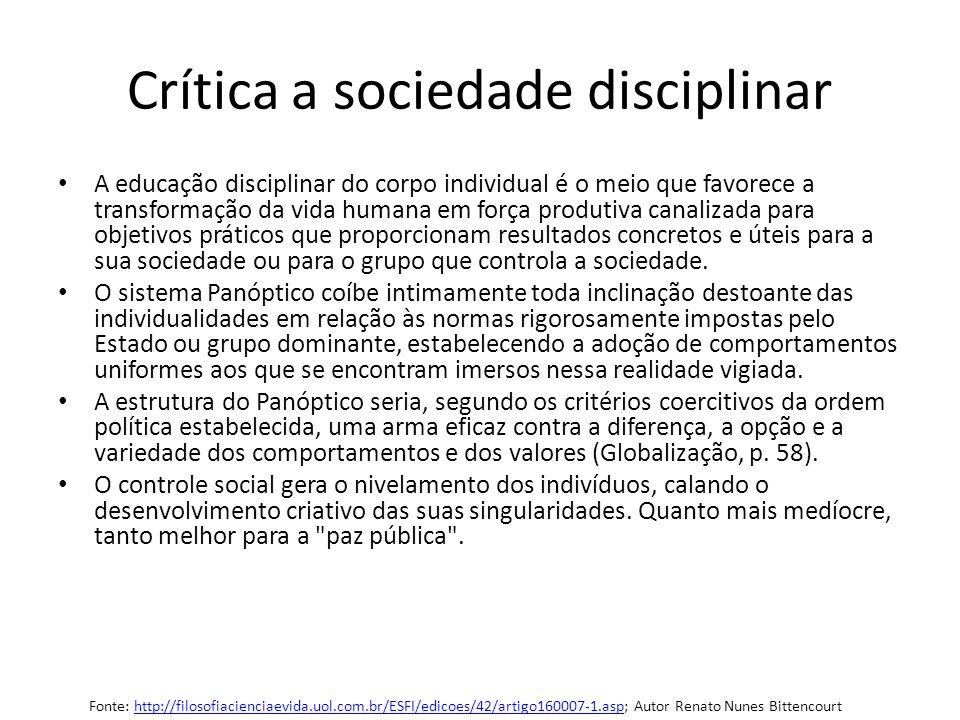 Crítica a sociedade disciplinar A educação disciplinar do corpo individual é o meio que favorece a transformação da vida humana em força produtiva can