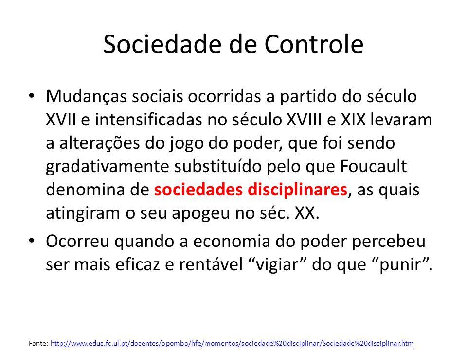 Sociedade de Controle Mudanças sociais ocorridas a partido do século XVII e intensificadas no século XVIII e XIX levaram a alterações do jogo do poder