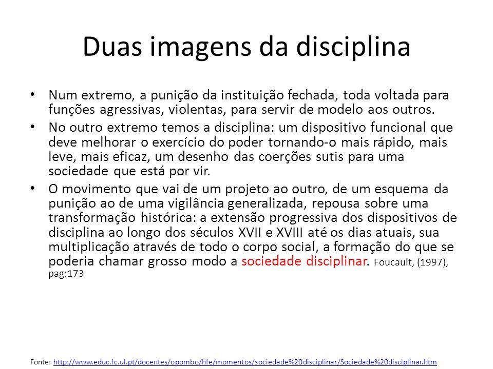 Duas imagens da disciplina Num extremo, a punição da instituição fechada, toda voltada para funções agressivas, violentas, para servir de modelo aos o