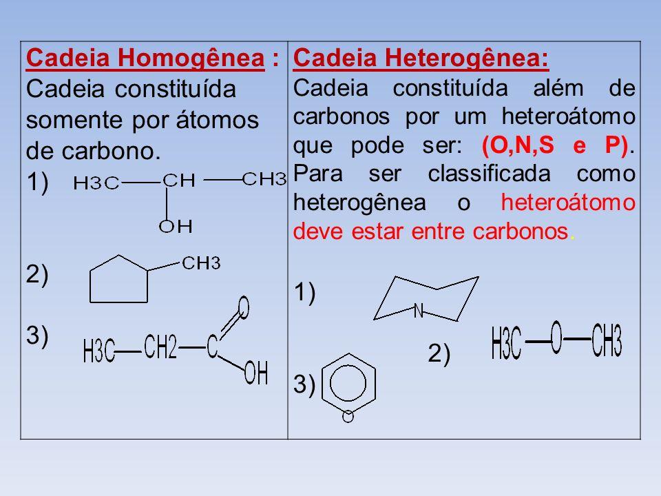 Cadeia Homogênea : Cadeia constituída somente por átomos de carbono. 1) 2) 3) Cadeia Heterogênea: Cadeia constituída além de carbonos por um heteroáto