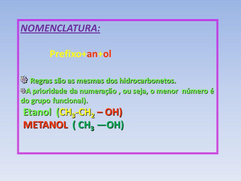 NOMENCLATURA: Prefixo+an+ol Regras são as mesmas dos hidrocarbonetos. Regras são as mesmas dos hidrocarbonetos. A prioridade da numeração, ou seja, o
