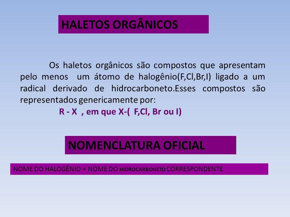 Os haletos orgânicos são compostos que apresentam pelo menos um átomo de halogênio(F,Cl,Br,I) ligado a um radical derivado de hidrocarboneto.Esses com