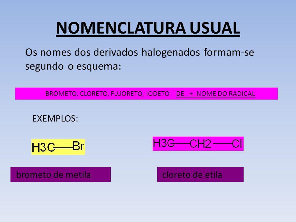 NOMENCLATURA USUAL BROMETO, CLORETO, FLUORETO, IODETO DE + NOME DO RADICAL Os nomes dos derivados halogenados formam-se segundo o esquema: EXEMPLOS: b