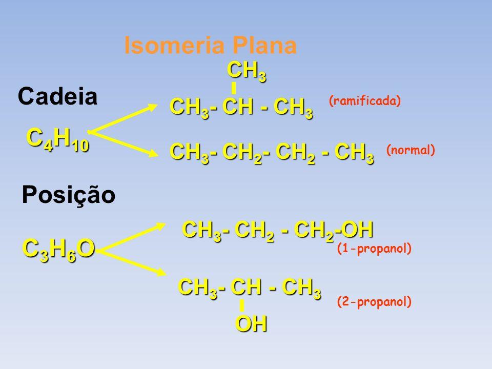 Isomeria Plana Cadeia C 4 H 10 CH 3 - CH - CH 3 CH 3 CH 3 - CH 2 - CH 2 - CH 3 Posição C3H6OC3H6OC3H6OC3H6O CH 3 - CH - CH 3 OH CH 3 - CH 2 - CH 2 -OH