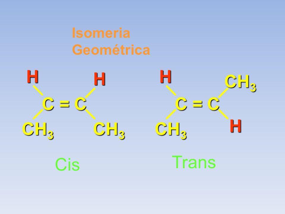 Isomeria Geométrica C = C CH 3 HH C = C CH 3 HH Cis Trans