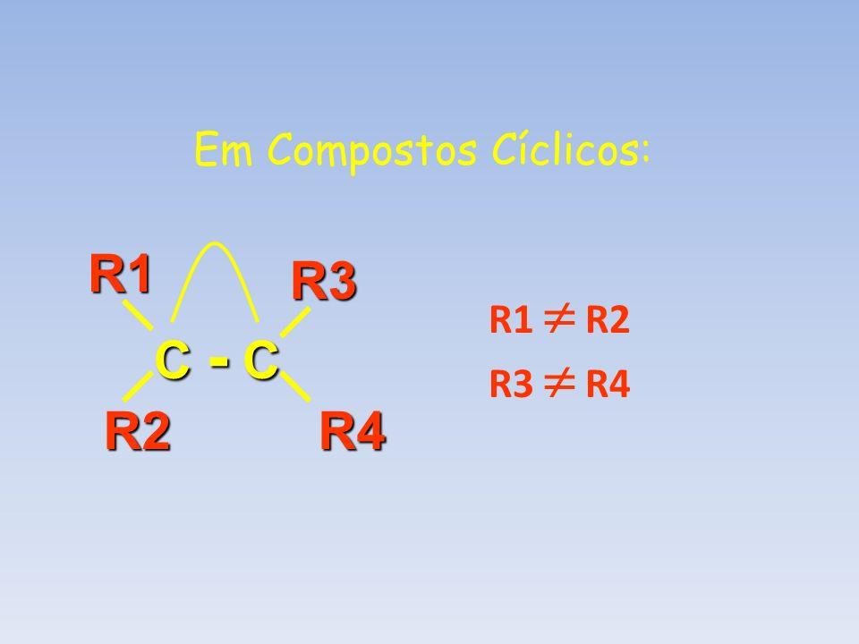 Em Compostos Cíclicos: C - C R4R2R1R3 R1 R2 R3 R4
