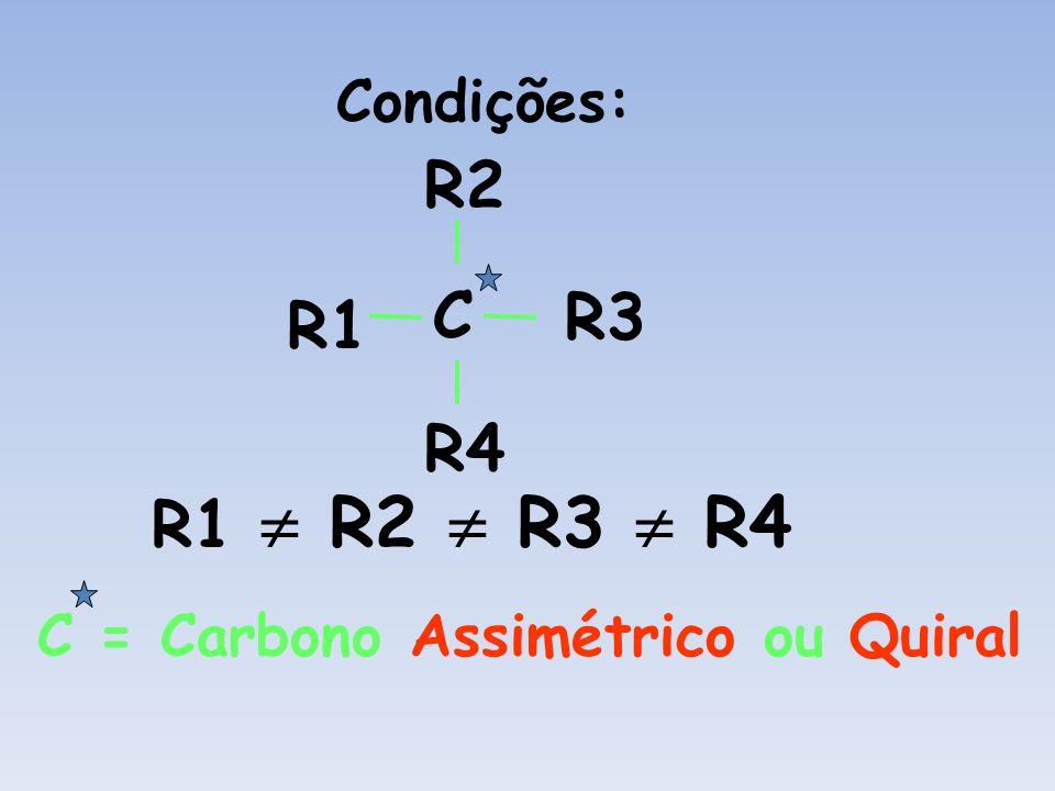 Condições: C R1R2 R3 R4 R1 R2 R3 R4 C = Carbono Assimétrico ou Quiral