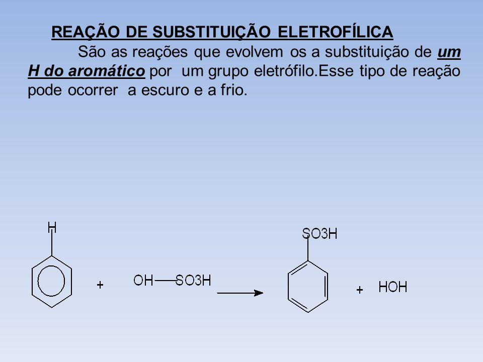 REAÇÃO DE SUBSTITUIÇÃO ELETROFÍLICA São as reações que evolvem os a substituição de um H do aromático por um grupo eletrófilo.Esse tipo de reação pode