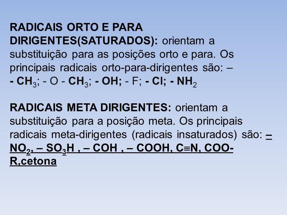 RADICAIS ORTO E PARA DIRIGENTES(SATURADOS): orientam a substituição para as posições orto e para. Os principais radicais orto-para-dirigentes são: – -