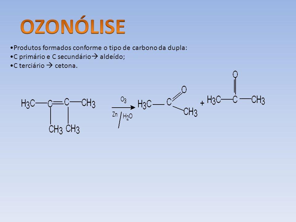 Produtos formados conforme o tipo de carbono da dupla: C primário e C secundário aldeído; C terciário cetona.