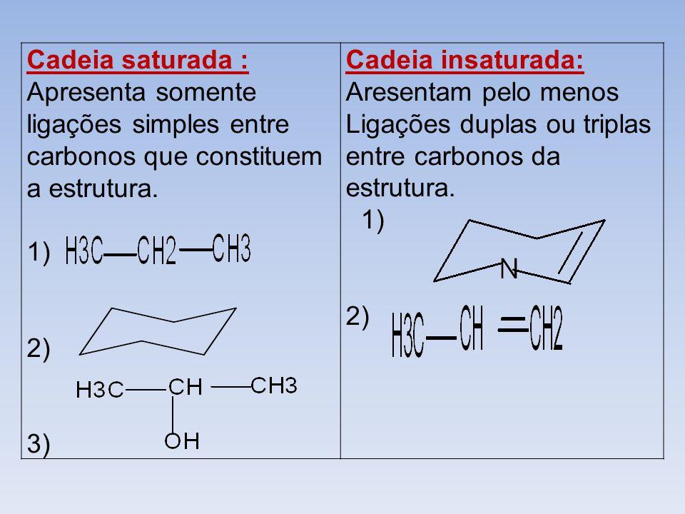 Cadeia saturada : Apresenta somente ligações simples entre carbonos que constituem a estrutura. 1) 2) 3) Cadeia insaturada: Aresentam pelo menos Ligaç