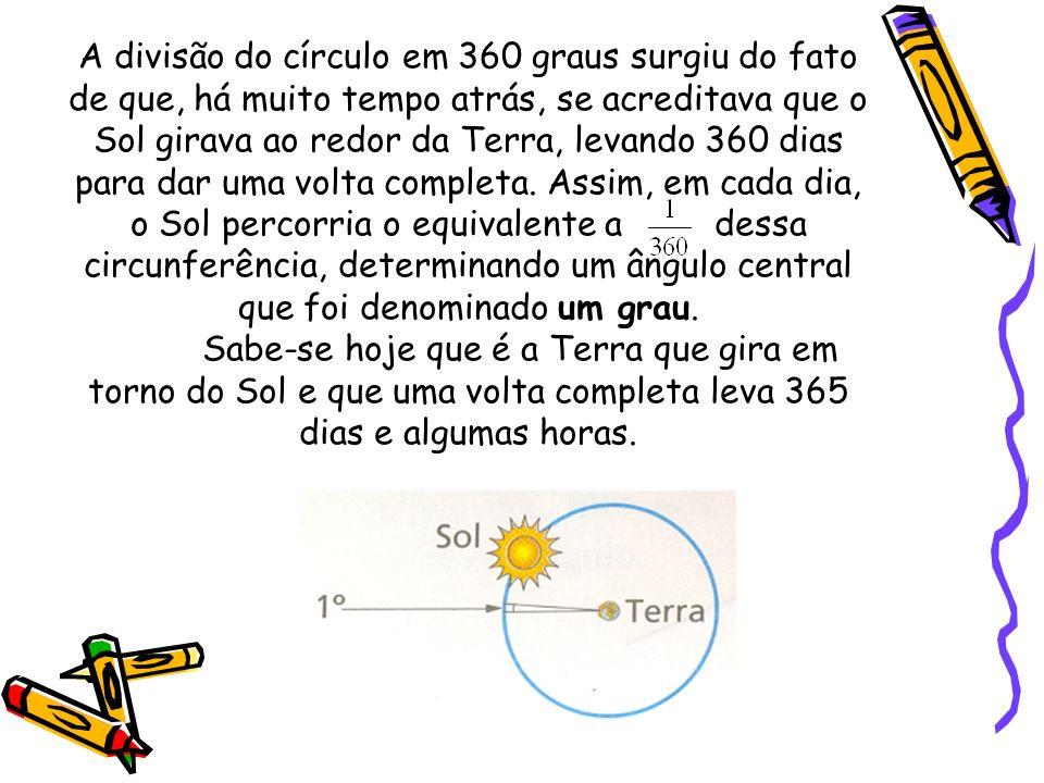 A divisão do círculo em 360 graus surgiu do fato de que, há muito tempo atrás, se acreditava que o Sol girava ao redor da Terra, levando 360 dias para