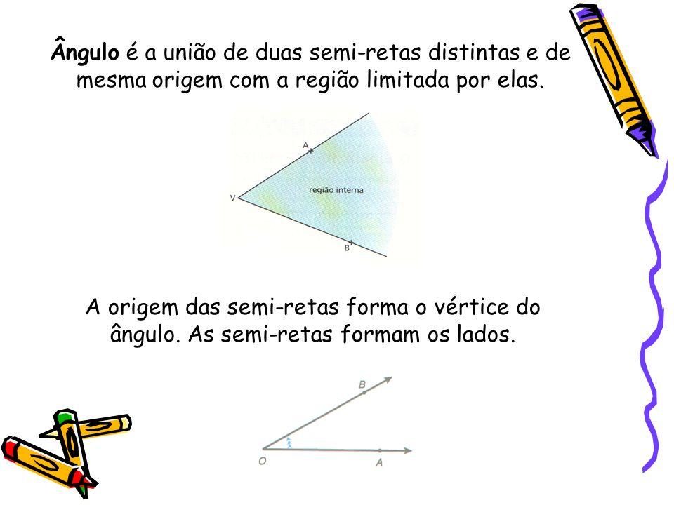 Ângulo é a união de duas semi-retas distintas e de mesma origem com a região limitada por elas. A origem das semi-retas forma o vértice do ângulo. As