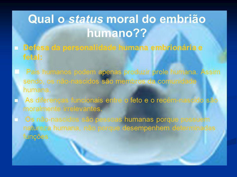 Qual o status moral do embrião humano?? Defesa da personalidade humana embrionária e fetal: Pais humanos podem apenas produzir prole humana. Assim sen