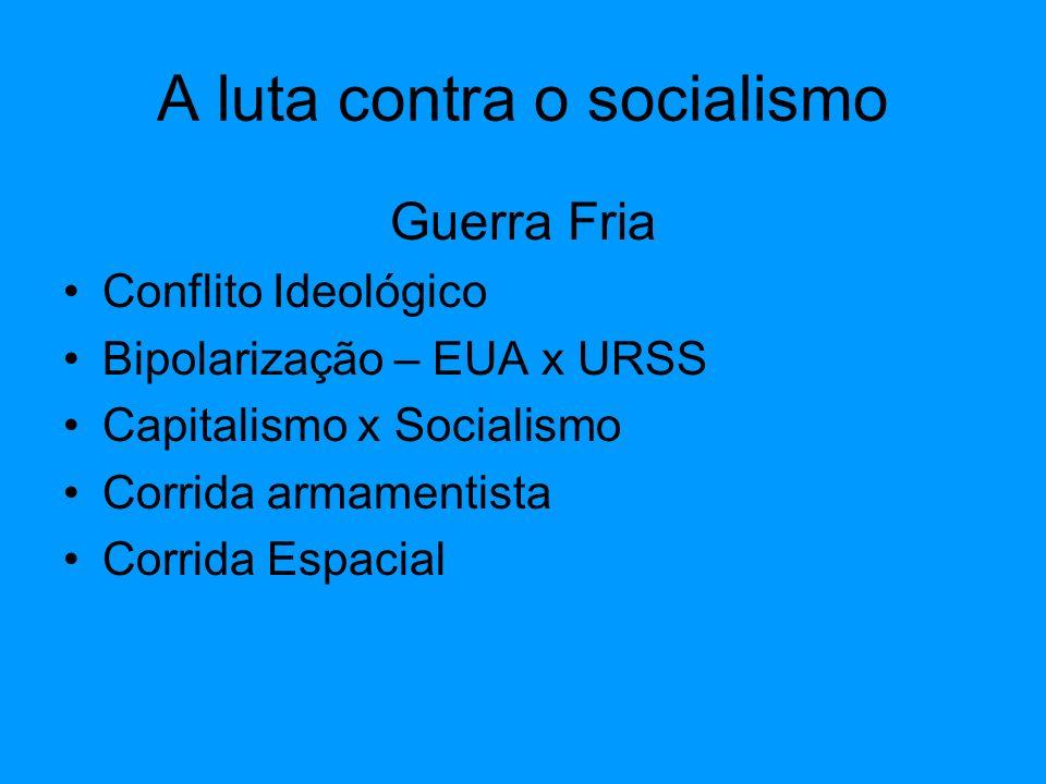 Guerra Fria Conflito Ideológico Bipolarização – EUA x URSS Capitalismo x Socialismo Corrida armamentista Corrida Espacial