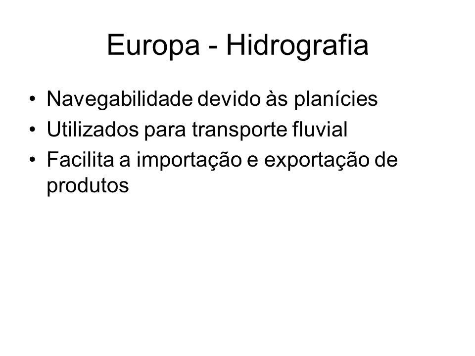 Europa - Hidrografia Navegabilidade devido às planícies Utilizados para transporte fluvial Facilita a importação e exportação de produtos