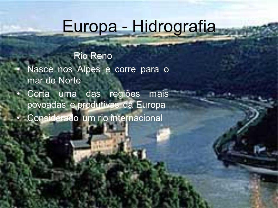 Europa - Hidrografia Rio Reno Nasce nos Alpes e corre para o mar do Norte Corta uma das regiões mais povoadas e produtivas da Europa Considerado um ri