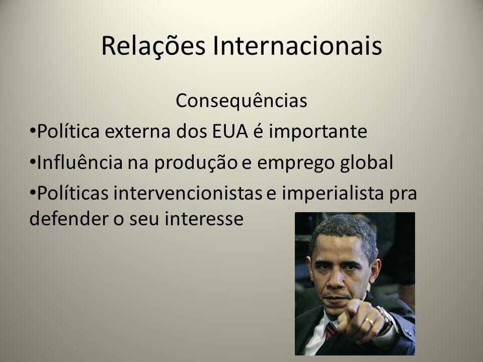 Relações Internacionais Consequências Política externa dos EUA é importante Influência na produção e emprego global Políticas intervencionistas e impe