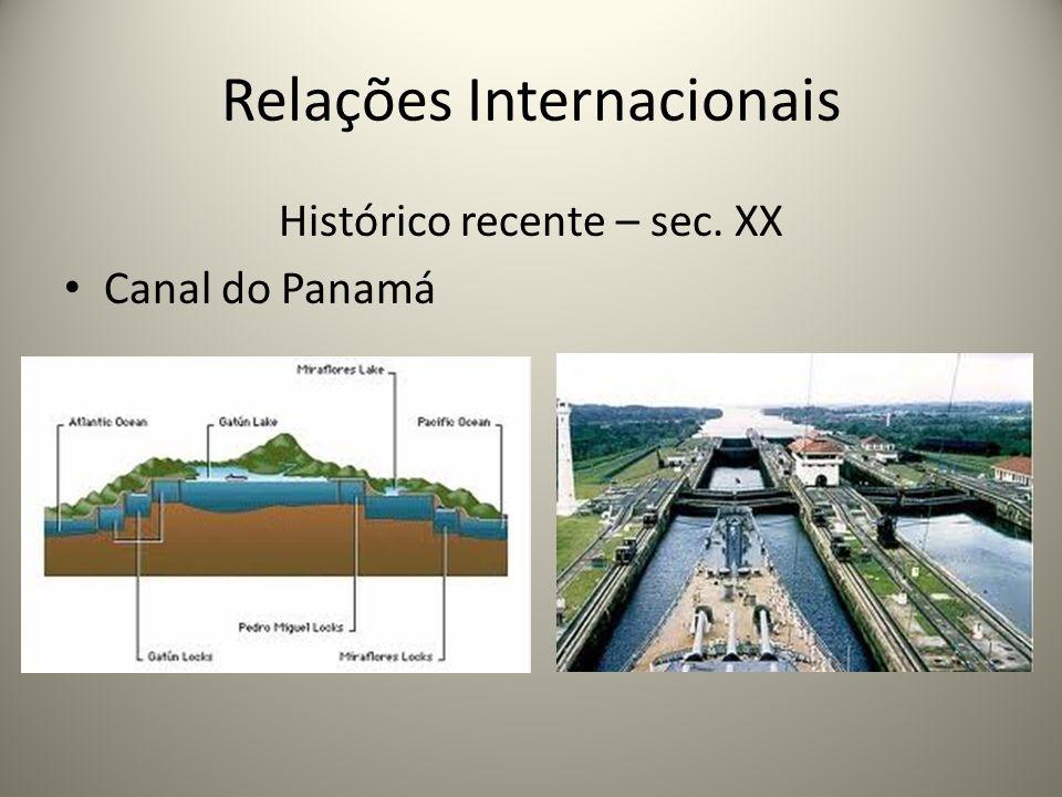 Relações Internacionais Histórico recente – sec. XX Canal do Panamá