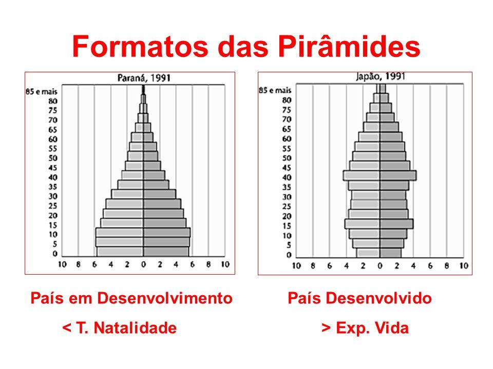 Formatos das Pirâmides País em Desenvolvimento País Desenvolvido Exp. Vida