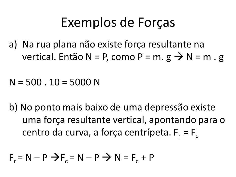 Exemplos de Forças a)Na rua plana não existe força resultante na vertical. Então N = P, como P = m. g N = m. g N = 500. 10 = 5000 N b) No ponto mais b