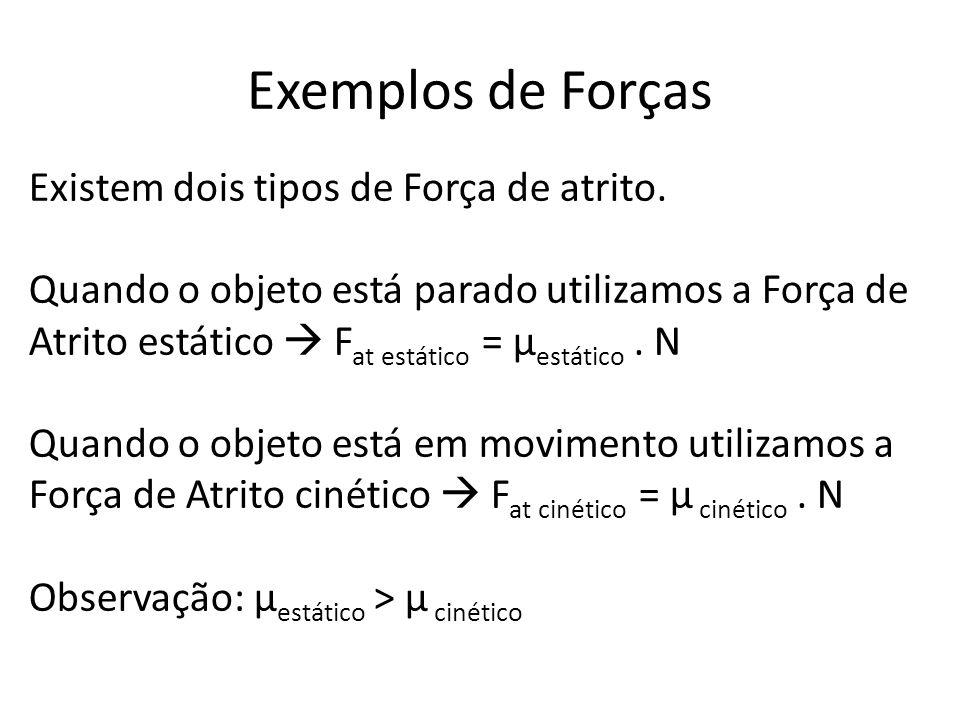 Exemplos de Forças Existem dois tipos de Força de atrito. Quando o objeto está parado utilizamos a Força de Atrito estático F at estático = µ estático