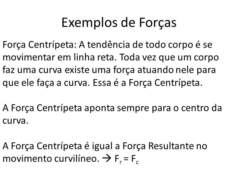 Força Centrípeta: A tendência de todo corpo é se movimentar em linha reta. Toda vez que um corpo faz uma curva existe uma força atuando nele para que