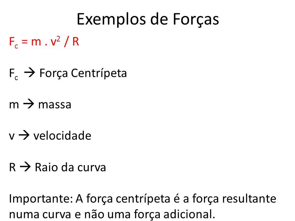 Exemplos de Forças F c = m. v 2 / R F c Força Centrípeta m massa v velocidade R Raio da curva Importante: A força centrípeta é a força resultante numa