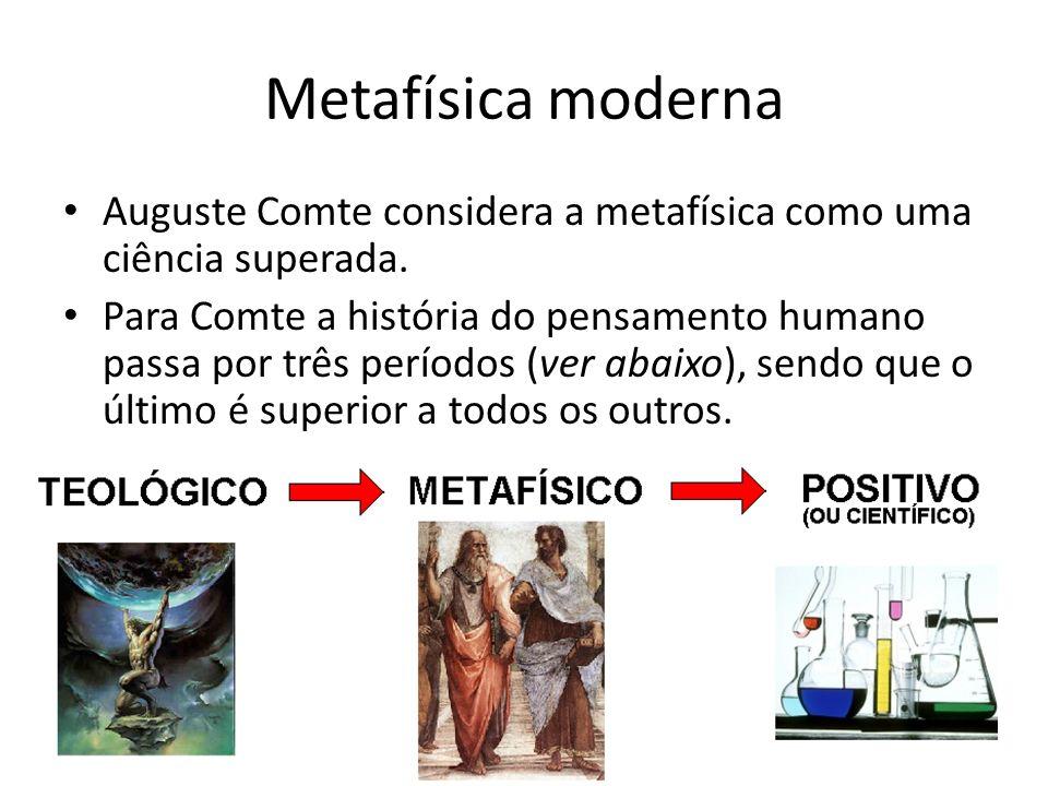 Metafísica moderna Auguste Comte considera a metafísica como uma ciência superada. Para Comte a história do pensamento humano passa por três períodos