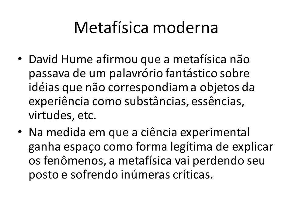 Metafísica moderna David Hume afirmou que a metafísica não passava de um palavrório fantástico sobre idéias que não correspondiam a objetos da experiê